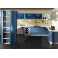 Wholesale Blue Lacquer Finish Painted Kitchen Cabinets Contemporary Style Hotel Project from china suppliers