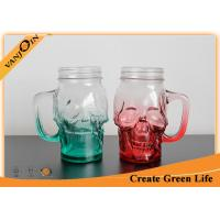 Wholesale 16oz Green and Red Color Skull Head Glass Drinking Mugs With Handle from china suppliers