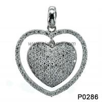 Wholesale Fashion Women Heart 925 Silver Gemstone Jewelry White Topaz / Black Sapphire from china suppliers