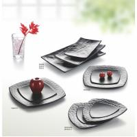 Wholesale Porcelain Dinnerware Sets / Melamine Black Matte Dinner Set Plate Unique Shape from china suppliers
