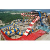 Quality Fiberglass Boomerang Big Water Slides For Children Water Playground 19m Height for sale