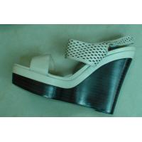 Buy cheap White Leather Black Wedge Heel Womens Strappy Sandals from wholesalers