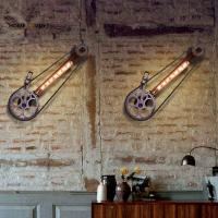 Buy cheap Loft Industrial Wall Lamps for home Vintage Bedside Wall Light Bicycle wheel Shade E27 Edison Bulbs Light For Indroor from wholesalers