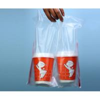 Wholesale 30x30cm HDPE Die Cut Handle Take Away Bag With Bottom For 2 Cups from china suppliers