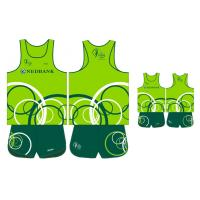 Wholesale Sublimated Health Green Men's Running Singlet and Shorts Breathable Fabrics from china suppliers
