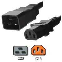 Wholesale IEC 60320 C20 to C13 PDU Power Cord 3 Pin 15 Amp 250V 14 AWG / 3 SJT from china suppliers