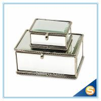 Wholesale Vintage Glass gift box for jewerly Trinket Box Brass Glass Dried Flower Box Mirror Bottom from china suppliers