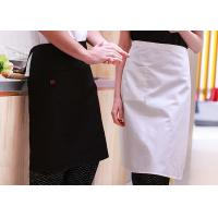 Women Kitchen Cooking Aprons , Solid Pattern Cotton Kitchen Aprons With Pockets for sale