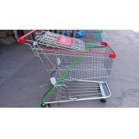 Wholesale Zinc Plated Wire Shopping Trolley Cart 4 Wheels Heavy Loading For Store from china suppliers