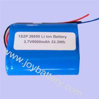 Wholesale 3.7V 9000mAh 26650 1S2P Lithium battery pack from china suppliers