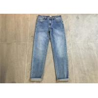 Wholesale Light Wash Straight Leg Ladies Denim Jeans With Hem Rolled Cotton Strench Denim from china suppliers
