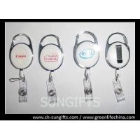 Wholesale Solid white carabiner badge reel with silk screen printing logo from china suppliers