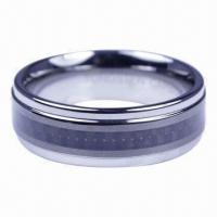China 8MM Tungsten Carbide Ring With Black Carbon Fiber on sale