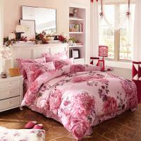 Wholesale Luxury 4 Piece Cotton Bedding Sets King Size / Twin Size Embroidered Flower from china suppliers