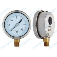 Wholesale 100mm Bottom liquid pressure gauge with brass connector , 304 SS Pressure Gauge from china suppliers