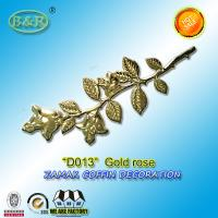 Wholesale D013 zamak rose Coffin Fitting coffin decoration gold zinc alloy flower size 45cm*13cm from china suppliers