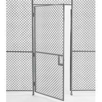 A hinged door with sturdy steel frames and 3 butt hinges which clinch the door to the wire mesh panels.