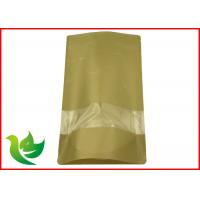 Wholesale Resealable Brown Kraft Paper Stand Up Pouch With Zipper , SGS BRC Compliant from china suppliers