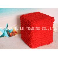 Wholesale Red Bubble Velet Yarn Hand Made Crochet Stool Cover Pouf Ottoman from china suppliers