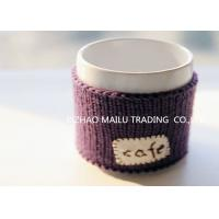 Quality Cafe logo purple embroidery hand knitted mug warmer sleeve cup sweater for sale