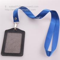 Wholesale Rivet nylon strap with leather card badge, plain nylon lanyards from china suppliers