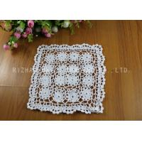 Wholesale White Flower Square Crochet Floor Rug / Cotton Handmade Crochet Placemat from china suppliers