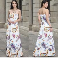Wholesale European-style fashion strapless printed long billowing skirt maxi sexy dress from china suppliers