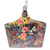 Floral Pattern Imitation Leather Cosmetic Organizer Basket Custom Cardboard Leather Collapsible Tote Bag Basket
