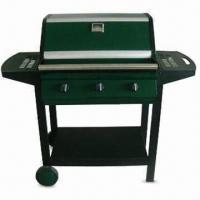 China Steel Hooded Trolley Gas Barbecue Grill with Tubed Triple Burner, CE-marked on sale