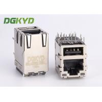 Wholesale High Performance Stacked USB RJ45 connector combo, 1000Mb, with LEDs from china suppliers