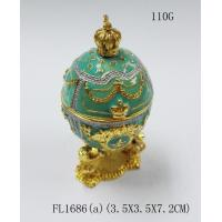 Wholesale Alloy Metal Decorative Faberge Egg Jewelry Box Easter blue egg Russian  trinket box from china suppliers
