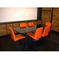 Wholesale Classic PU Coloured  High Back Dining Room Chairs with Black Metal Tube from china suppliers