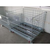 Wholesale 4 Sided Grocery Store Wire Mesh storage warehouse Container with four casters from china suppliers