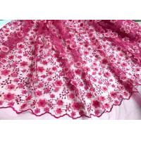 China Colored Handmade 3D Flower Lace Fabric , Scalloped Embroidered Mesh Lace Fabric on sale