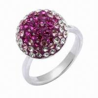 Wholesale 925 Sterling Silver Ring, Decorated with Crystal Stones, OEM and ODM Orders Welcomed from china suppliers