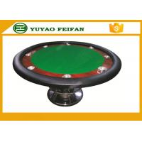 Quality Classic 8 People 48'' small cheap round  wooden table for poker game with 8 cup holders and one steel leg for sale
