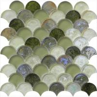 Wholesale Grey green mix water waving glass mosaic from china suppliers