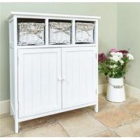 Wholesale 3 Wicker Basket Chest Of Drawers Stand White Wooden Kitchen Cabinets from china suppliers