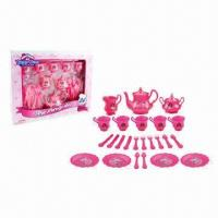 Wholesale 24 Pieces Pearl Plastic Toy Tea Set for Children Playing Togetable from china suppliers