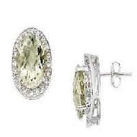 Wholesale 14K White Gold Earrings Green Amethyst and Diamond from china suppliers