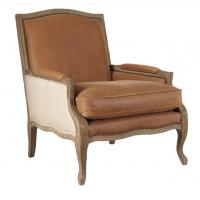 Wholesale French Antique red , light brown leather living room Armchair with seat cushion from china suppliers