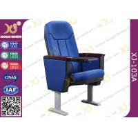 Wholesale Soild Wood Armrest Blue Fabric Conference Hall Chairs With Aluminum Feet from china suppliers