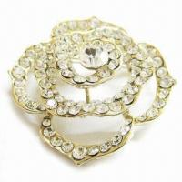 Wholesale Metal Flower Brooch, Can be Used for Weddings, Parties, Gifts, Available in Various Colors from china suppliers