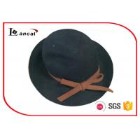 Wholesale Cyan Bowknot Trim Floppy Felt Hat , Ladies Crushable Felt Cowboy Hats from china suppliers