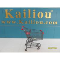 Wholesale American Style Metal Supermarket 4 wheel shopping trolley with grey powder coating from china suppliers