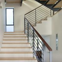 Wholesale Stainless steel stair balustrade with wooden handrail solid rod design from china suppliers