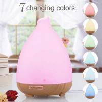 Wholesale 120ml Glass Aromatherapy Ultrasonic Essential Oil Aroma Diffuser Wooden Aroma Diffuser with 7Color LED Lights from china suppliers