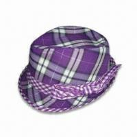 Wholesale Checked Polyester Fabrics Ladies Fedora/Hat with Bowknot Decoration, Various Colors are Available from china suppliers