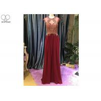 Maroon A Line Lace Prom Dress Sleeveless Top Lace Heavy Beading Sweep Train for sale