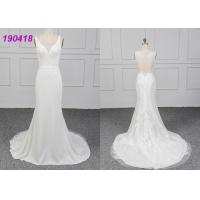 Wholesale Sleeveless Crepe Wedding Dress Vestido De Noiva Lace Appliques Sheath Design from china suppliers